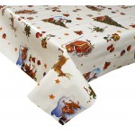 PVC Santa Snowman White - Vinyl Table Cloth Range